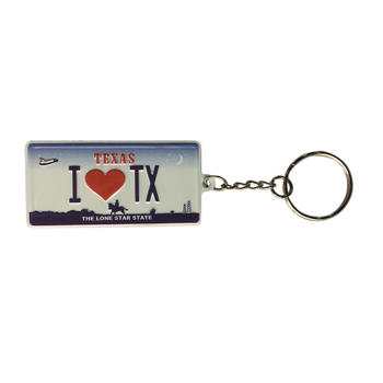 I Love Texas Printing Auto Car Motorcycle License Plate Keychain