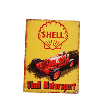 Customized Shell Motorsport Advertise Old Metal Sign