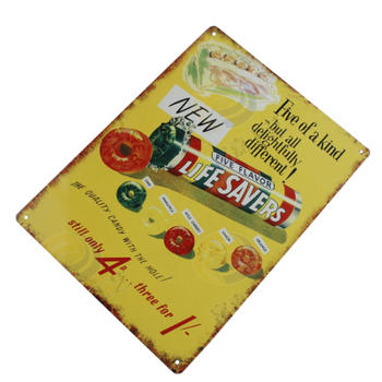 Customized Candy Logo Tin Vintage Sign