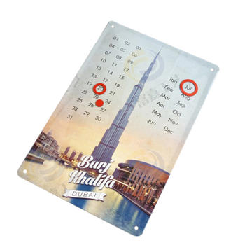 Dubai Dome Hanging Wall Tin Calendar with Magnetic Rings