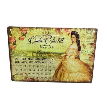 Queen Elisabeth Metal Magnetic Month And Day Tin Calendar