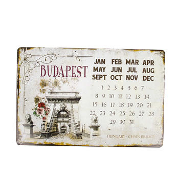 Personalized Decoration Embossed Tin Calendar Sign