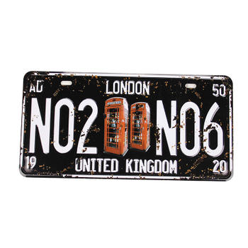 London Vintage Black and White Car License Plate