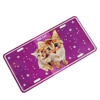 Cute Cat Twins Purple Car License Plate