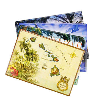 The Hawaii Island Souvenir Metal Post Card